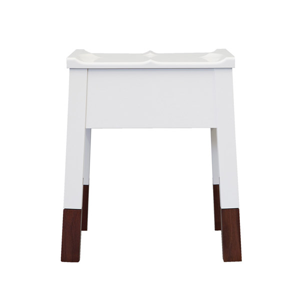 White Caudal Stool With Walnut Legs